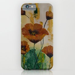 Poppies With a Touch of Gold iPhone Case