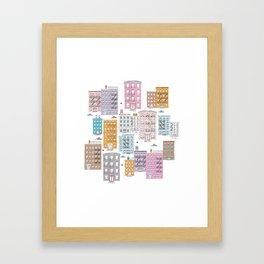 New York Brownstone Architecture - Pastel homes Framed Art Print