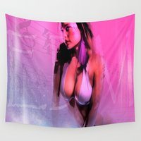 edm Wall Tapestries featuring EDM Sexy Girl ( U & Me ) by Gilles Rathé