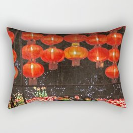 Red Chinese lanterns at night Rectangular Pillow