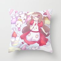 puppycat Throw Pillows featuring Bee & puppycat ver 2 by Kurodoj