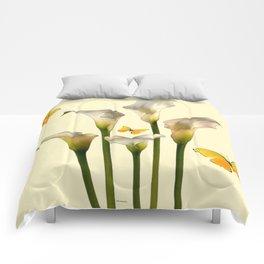 Ivory Calla Lilies Yellow Butterflies Comforters