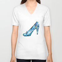 shoe V-neck T-shirts featuring Cinderella Shoe by Chris Thompson, ThompsonArts.com