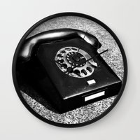 telephone Wall Clocks featuring telephone by Falko Follert Art-FF77