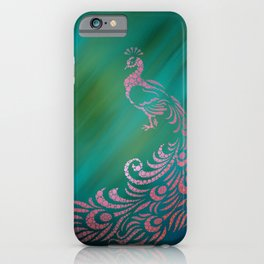 Whimsical Pink Peacock Against Teal Digital Illustration Circles - Polka Dots iPhone Case