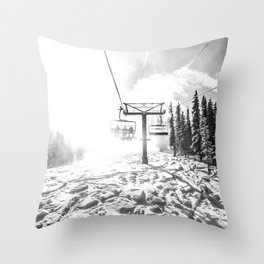 Powder on the Hill // Black and White Skilift Shot on a Deep Snowday Throw Pillow