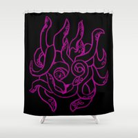 kraken Shower Curtains featuring Kraken by Glyphoteque