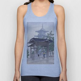 Kawase Hasui Woodblock Print - De Zensetsu tempel in Sanshu Unisex Tank Top
