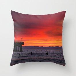 Surfers watching Sunset Throw Pillow