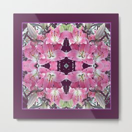 PINK SPRING LILY FLOWERS PURPLE GARDEN Metal Print