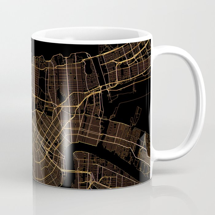 Black and gold New Orleans map Coffee Mug
