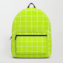 Volt - green color - White Lines Grid Pattern Backpack