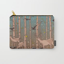 Birch Trees with Birds And Deer Carry-All Pouch