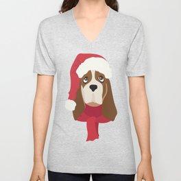 Basset Hound Christmas Dog Unisex V-Neck