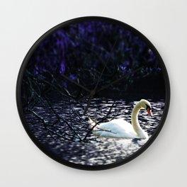 Midnight Drift.  Purple Ocean Swan at Night. Wall Clock