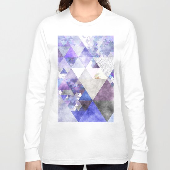 Purple and silver glitter triangle pattern- Abstract watercolor illustration Long Sleeve T-shirt