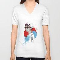 korea V-neck T-shirts featuring South Korea by Tunyon