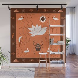 Egyptian Design - Coral Maroon Wall Mural