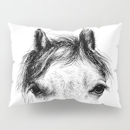 Horse animal head eyes ink drawing illustration. Mammal face portrait Pillow Sham