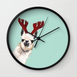 Llama Reindeer in Green Wall Clock