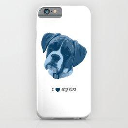 I love my dog - Boxer, blue iPhone Case