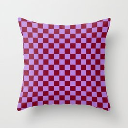 Lavender Violet and Burgundy Red Checkerboard Throw Pillow