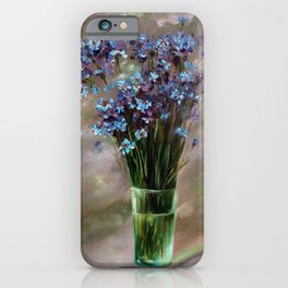 Fragment of wall art, blue daisies iPhone Case