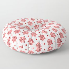 Red Snowflakes pattern Floor Pillow