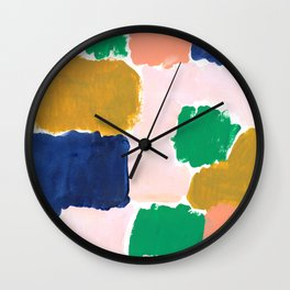 Shel - abstract painting boho modern bright minimal color palette gender neutral dorm college decor Wall Clock