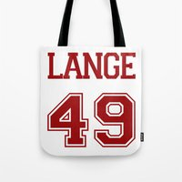 jessica lange Tote Bags featuring Jessica Lange Varsity by NameGame