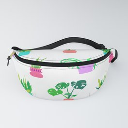 Simple Potted Plants in White Fanny Pack