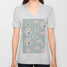 Dog Rose Pattern Mint Unisex V-Neck