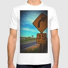 35 mph White Mens Fitted Tee MEDIUM