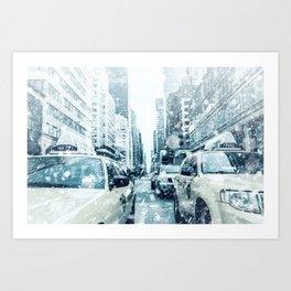 New York City Snowing Blizzard Photo Big Apple Streets Cars Art Print