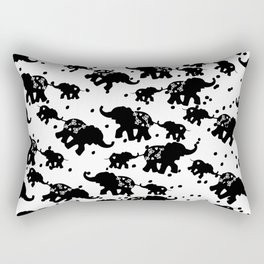 Abstract black white polka dots cute elephant Rectangular Pillow