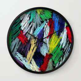 Colorful Oil Paints on Black Paper Wall Clock