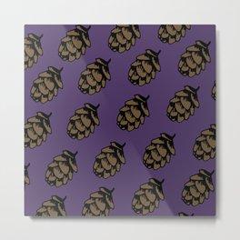 Purple Pinecone Pattern Metal Print