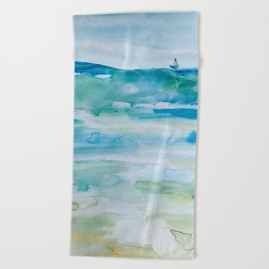 Miami Beach Watercolor #1 Beach Towel