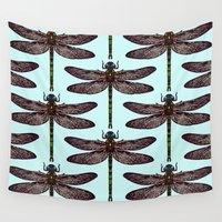 dragonfly Wall Tapestries featuring dragonfly by Sharon Turner