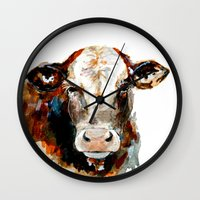 craftberrybush Wall Clocks featuring  Cow watercolor by craftberrybush