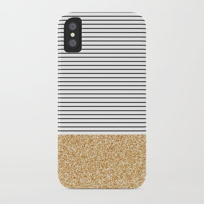 Minimal Gold Glitter Stripes iPhone Case