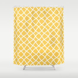 Yellow and white curved grid pattern Shower Curtain