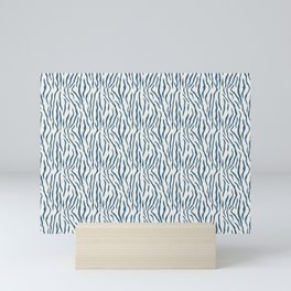 Blue & Off White Bold Tiger Stripes Pattern Pairs To 2020 Color of the Year Chinese Porcelain Mini Art Print