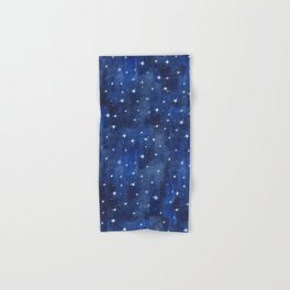 Midnight Stars Night Watercolor Painting by Robayre Hand & Bath Towel