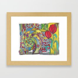 abstract red flower Framed Art Print