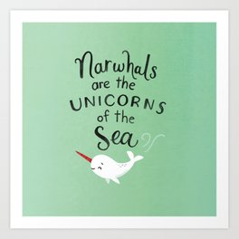 Wendell the Narwhal Art Print