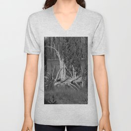 road trip, wood pile, snag by the lake Unisex V-Neck