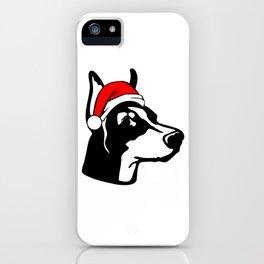 Doberman Dog with Christmas Santa Hat iPhone Case
