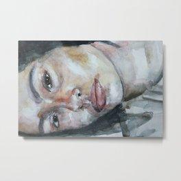 Original watercolor art work, portrait girl, eyes Metal Print