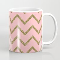 gold glitter Mugs featuring Gold & Pink Glitter Chevron by Stay Inspired